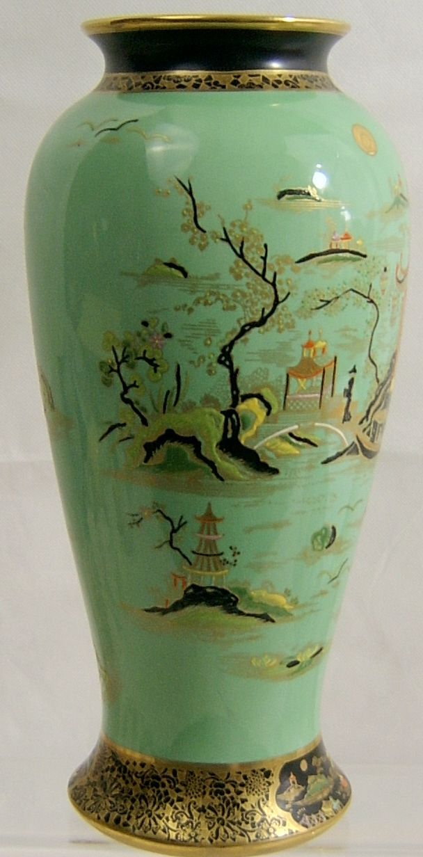 W Amp R Carlton Ware Large Green Temple Vase 1920s Sold